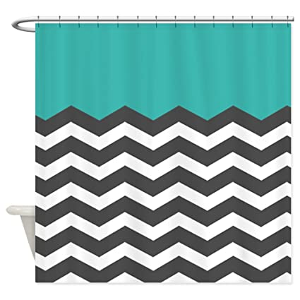 Image Unavailable Not Available For Color CafePress Turquoise Black White Chevron Shower Curtain