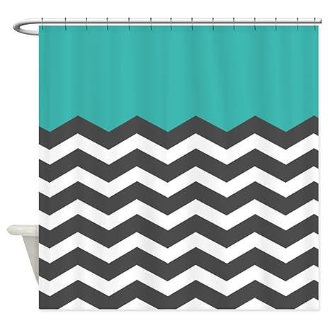 black and turquoise shower curtain. CafePress  Turquoise black white Chevron Shower Curtain Decorative Fabric Amazon com