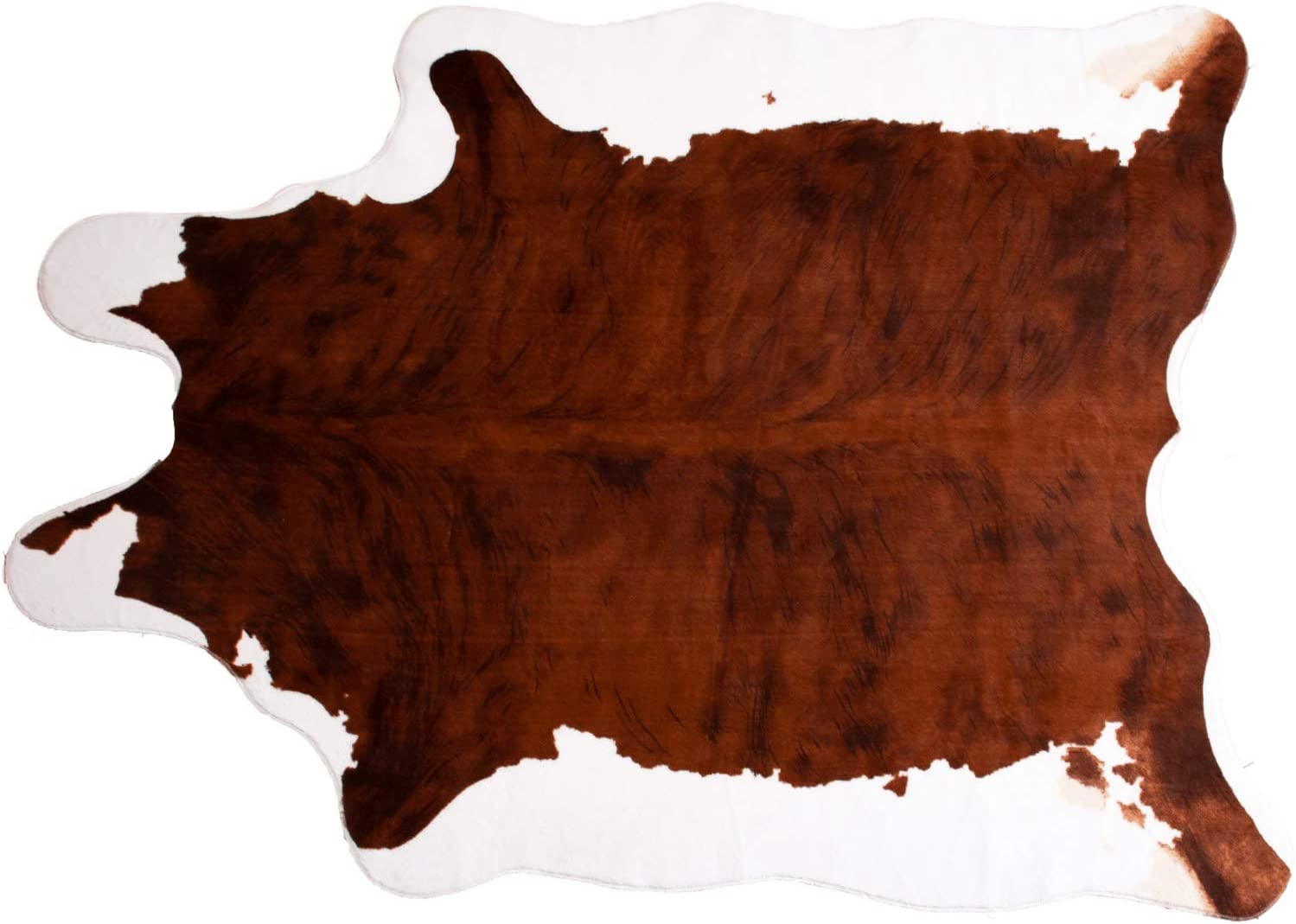 MustMat Faux Cowhide Rug Brown and White Cow Print Rug Cowboy Decor for Living Room Approx 4.5'x6.2'