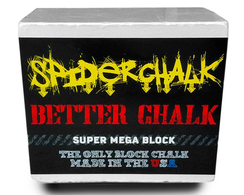 Spider Chalk 7oz. Super-Mega Gym Athletic Chalk Block - Pure Magnesium Carbonate - Lasts 2x Longer than Regular Chalk