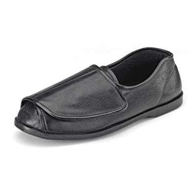 5fb6ca62da8b CLIFFORD JAMES Mens Womens Very Wide Genuine Leather Shoe Slipper with Easy  Wrap Around Touch Fasten Fit and Soft Comfortable Upper in Black and Brown.