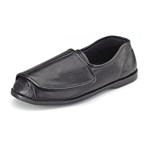 CLIFFORD JAMES Mens Womens Very Wide Genuine Leather Shoe Slipper with Easy  Wrap Around Touch Fasten Fit and Soft Comfortable Upper in Black and Brown. f21577e5e31