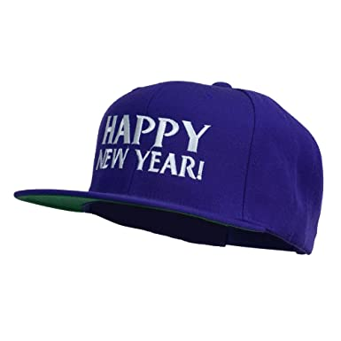 happy new year embroidered flat bill cap purple osfm