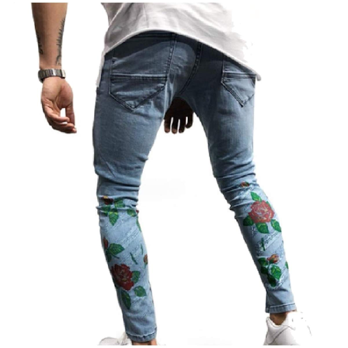 CuteRose Mens Vingtage Wash Floral Print Distressed Spring//Fall Jeans