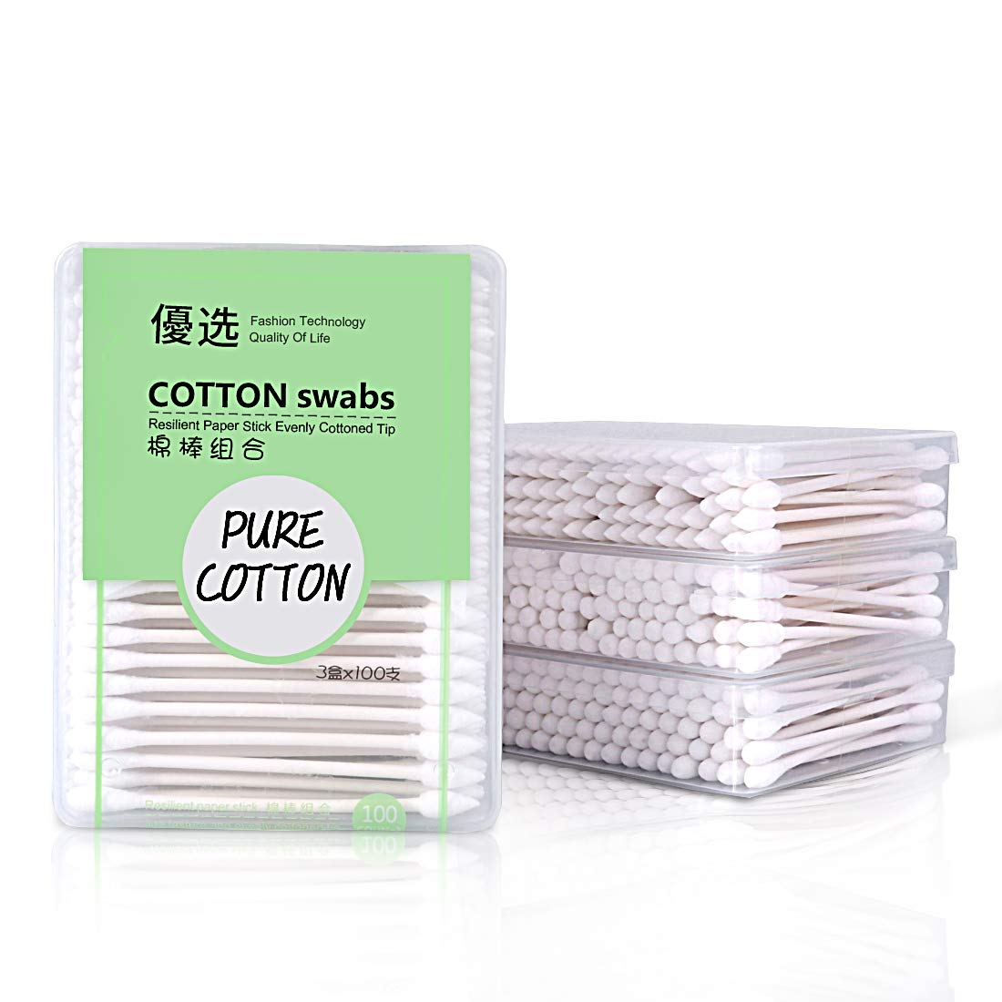 Lameila Cotton Buds Baby Cotton Tip Swab with 100% Biodegradable Paper Handles for Makeup Clean Care-3 x 100 Pack