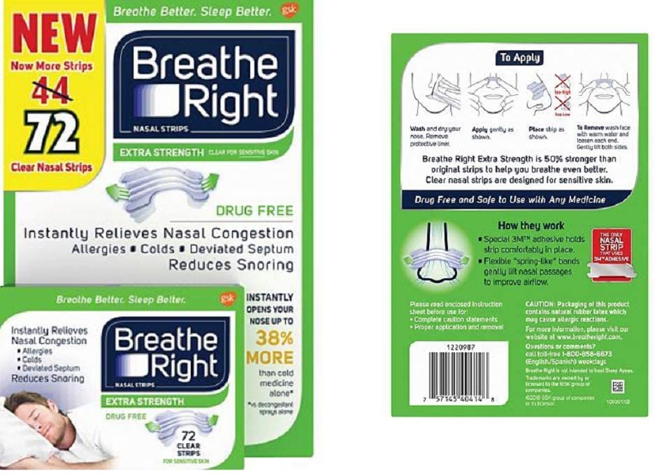 Breathe Right Extra Strength Drug-Free Nasal Strips for Nasal Congestion Relief, 72 Count: Health & Personal Care