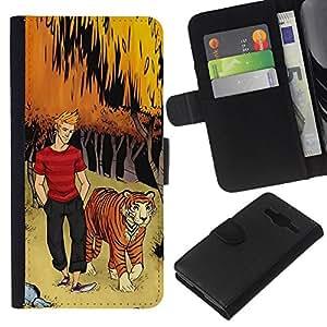 Planetar® Modelo colorido cuero carpeta tirón caso cubierta piel Holster Funda protección Samsung Galaxy Core Prime ( Tiger Bow Forest Man Dude Boy Kids )