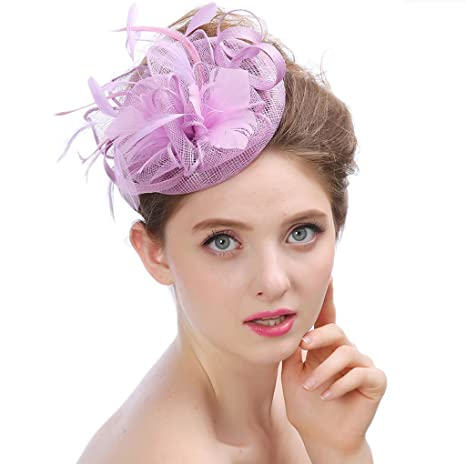 ca89e533 Amazon.com: Women Derby Hat Wedding Party Cap Flower Feather Alice Headband  Fascinator Headwear Ladies Race Royal Ascot Pillbox Cocktail,Purple: Sports  & ...