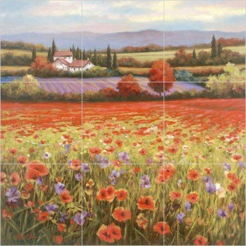 (Poppy Landscape Ceramic Tile Mural Backsplash 12.75