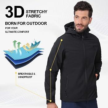 CAMEL CROWN Mens Softshell Jacket Fleece Lined Waterproof Windproof Lightweight Outdoor Jackets Full Zip Hiking Work