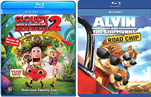 Cloudy with a Chance of Meatballs 2 & Alvin and the Chipmunks: The Road Chip - Blu Ray + DVD Cartoons awesome Animated Set