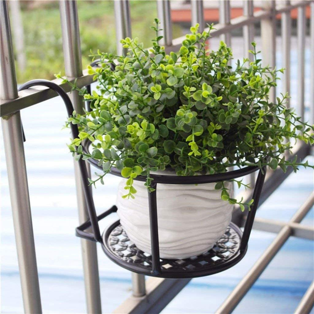 GONGFF Estante de Flores, balcón de la pérgola Barandilla de Hierro Europea Colgador de Flores Maceta Colgante Estante de Ventana Colgante Estante de Flores Cerca