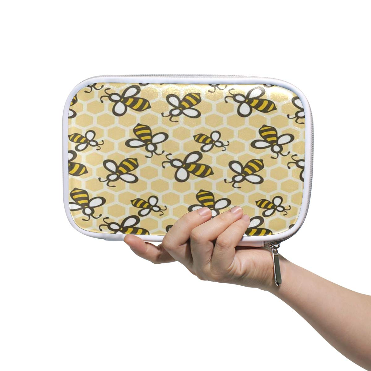 Cartoon Pattern Honey Bee Makeup Brushes Bag Multifunction Leather Large Pencil Case Holder Zip Pouch