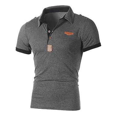 ... DoraMe Männer Mode Sommer Casual Schlank Kurzarm Poloshirt Slim Fit  Persönlichkeit Hemd Knöpfe Patchwork Bluse V-Hals Lässig Top  Amazon.de   Bekleidung 5a923bfd77
