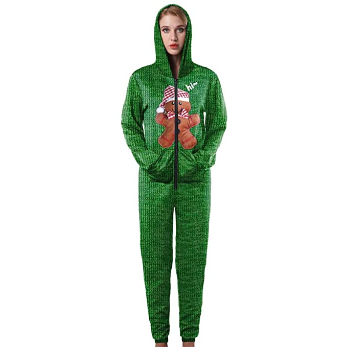2d2a72f982da Aibiner-Tops Women Christmas Jumpsuits Pajamas Cute Bear Printed Hooded  Onesie Pajamas Zippers Sleepwear (