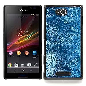 - Flowers Pattern Texture Cold Winter Glass/ Duro Snap en el tel????fono celular de la cubierta - Cao - For Sony Xperia C S39h C2305