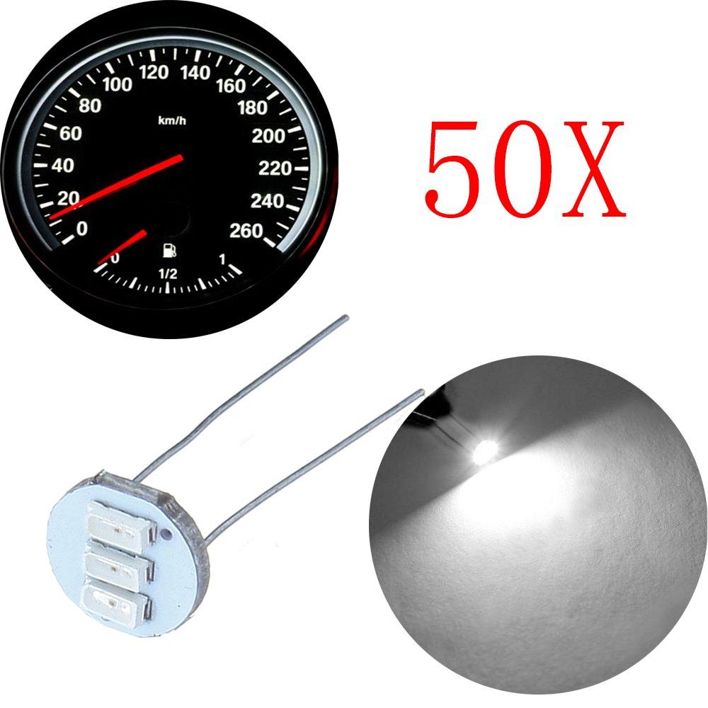 CCIYU 50Pcs 4.7mm-12v Car White Mini Bulbs Lamps Indicator Cluster Speedometer Backlight Lighting For GM GMC