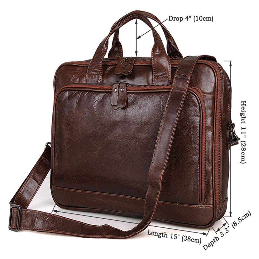 Techecho Mens 15 Briefcase Leather Laptop Bag Business Handbag with Handle and Zipper Pocket Shoulder Bag Large Capacity Leather Computer Bag