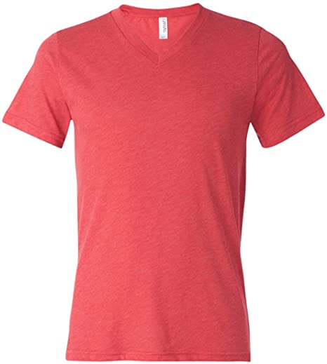 74988266defe Amazon.com: Bella 3415 Unisex Triblend Short Sleeve V-Neck Tee - Red ...