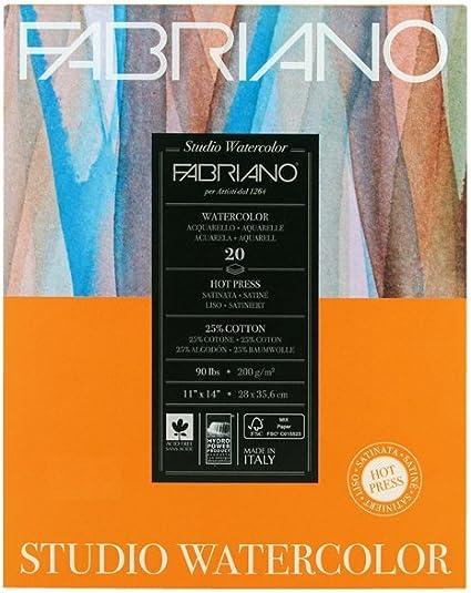 """Cold Press 12-Sheet Pad 11x14/"""" Fabriano Studio Watercolor Paper 140 lb"""