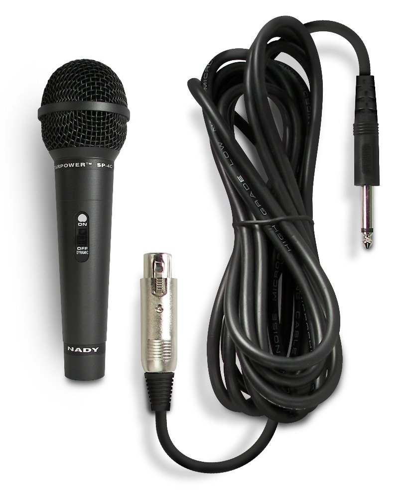 Nady SP-4C Dynamic Neodymium Microphone - Professional vocal microphone for performance, stage, karaoke, public speaking, recording - includes 15' XLR-to-1/4'' cable