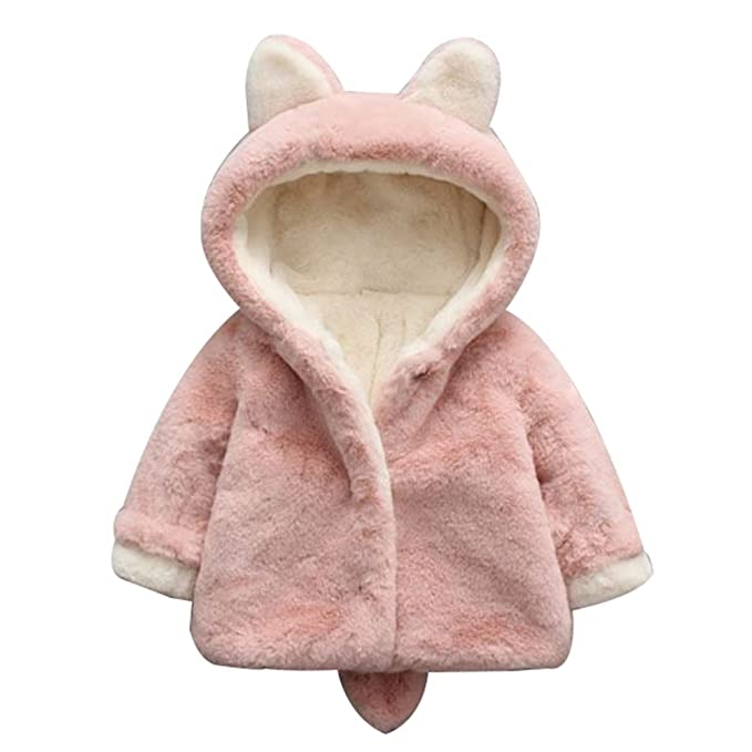 LOSORN ZPY Toddler Baby Girl Fleece Coat Jacket Warm Outwear with Hooded Ears