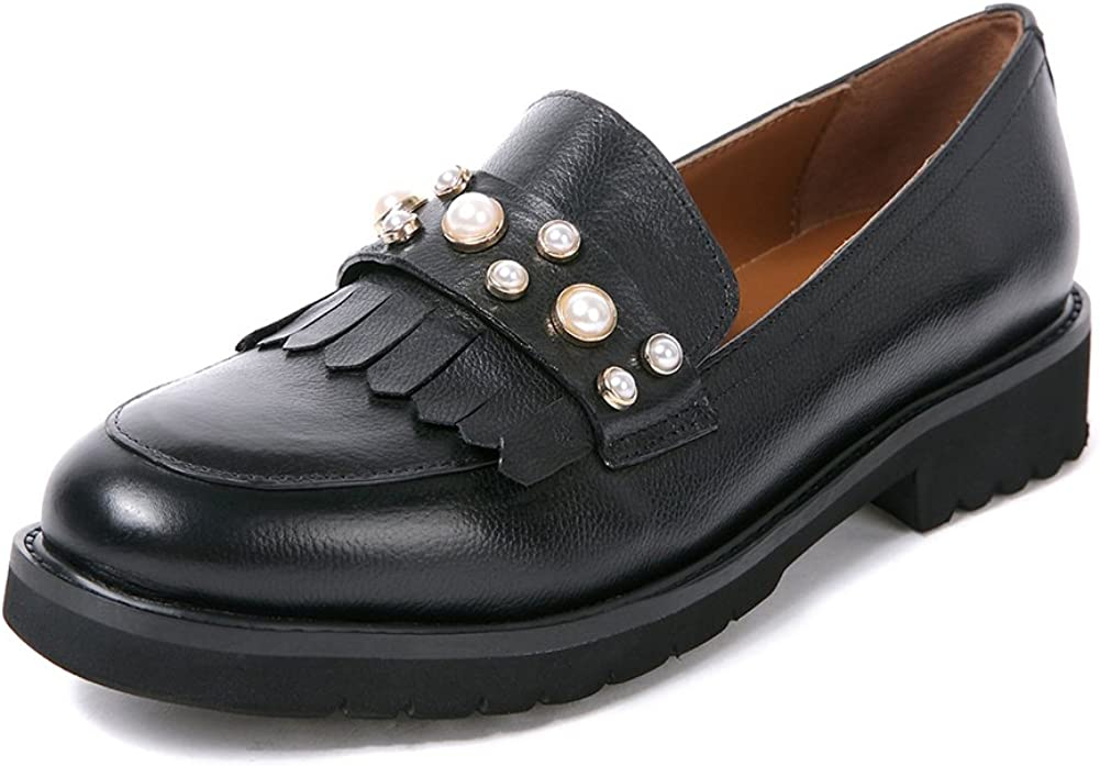 Womens All stores are sold Penny Loafers Leather Flat Casual Pump It is very popular School Work Office