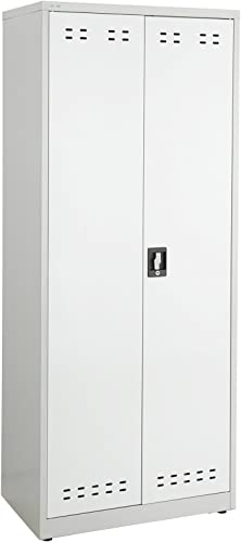 Safco Products Steel Storage Cabinet, 72 High, Wall Mountable, Gray