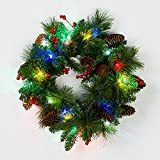18 inches Wreath, 20pc Multicolor LEDs, Green Copper Wire, Green Battery Box, Timer