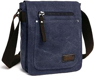 E-Bestar Herren Canvas Tasche Vintage Canvas Handtasche Schultertasche Ideal für Büro Canvas Retro Tasche für ipad Umhängetasche Vintage (Blau)