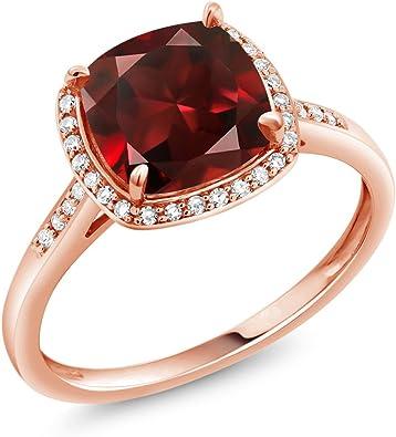 Ladies Modern 14K Yellow Gold Red Garnet Gemstone /& Diamond Accent Band Ring