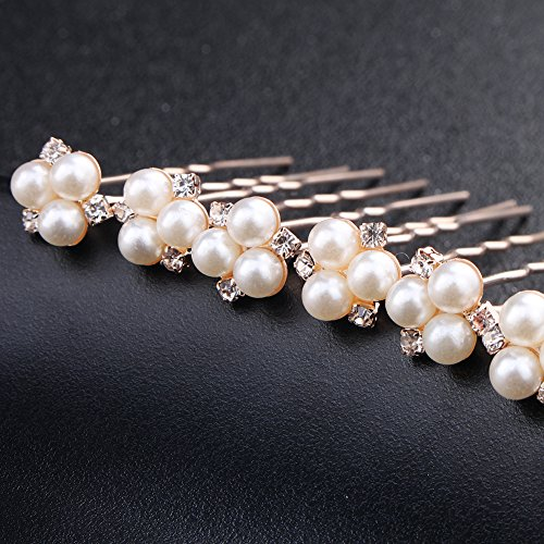 6 pieces Pearls Hair Pins for Wedding Hair Style Bridal Hair Clips (Rose Gold)