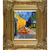 overstockArt Van Gogh Cafe Terrace at Night with Victorian Gold Frame Oil Painting, Gold Finish