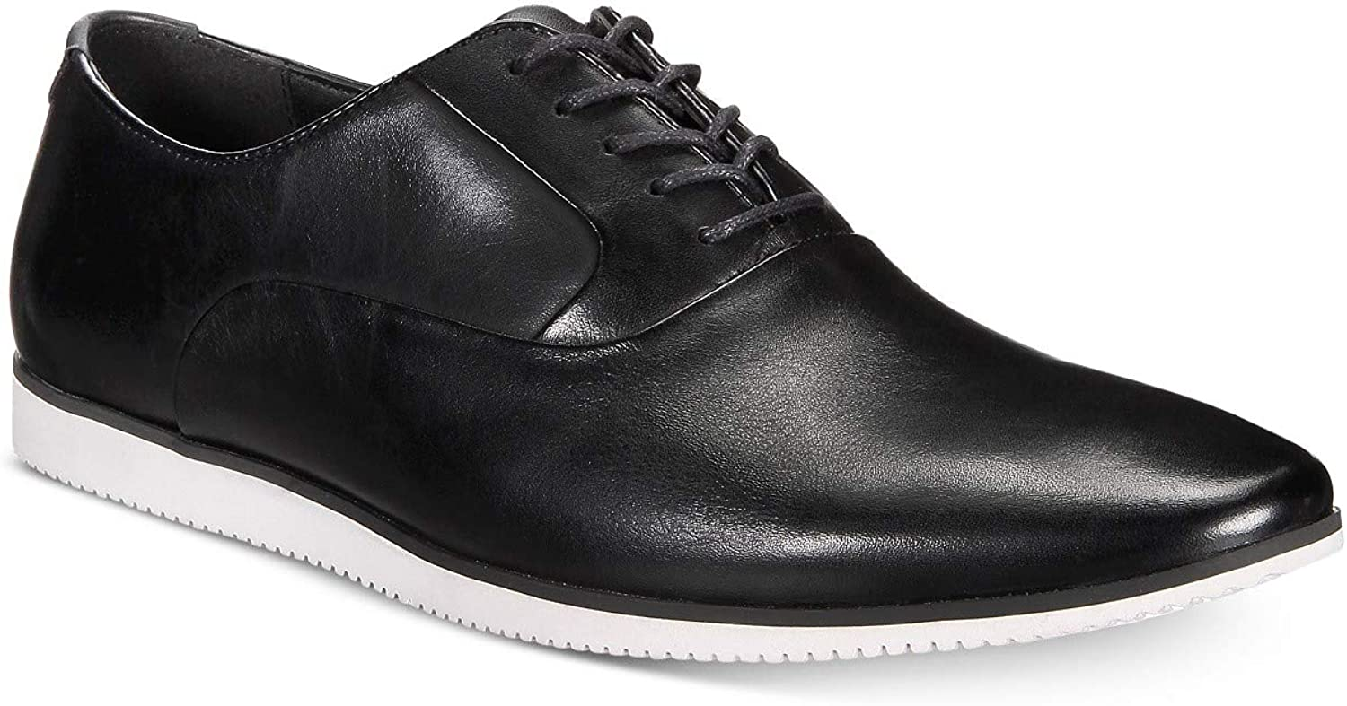 Size 10M Black Bar III Mens Warner Casual Smooth Lace-Up Oxfords