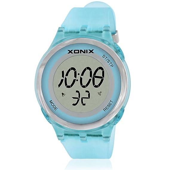 Niño o de niña de moda reloj deportivo multifunción, Electrónica digital de jalea Led Reloj 30 m resistente al agua alarma cronómetro infantil-B: Amazon.es: ...