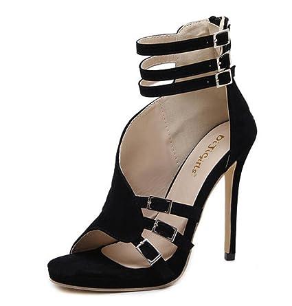 06adf294e5f27 Amazon.com: LINYI Summer New Multi-Line Buckle Open Toe Stiletto ...