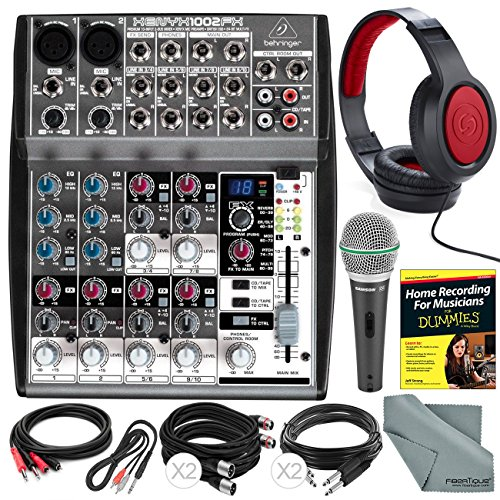 Behringer XENYX 1002FX 10-Channel Audio Mixer with Effects Processor and Accessory Bundle w/ Dynamic Mic + Home Recording Guide + 6X Cables + Headphones + Fibertique Cloth by Photo Savings