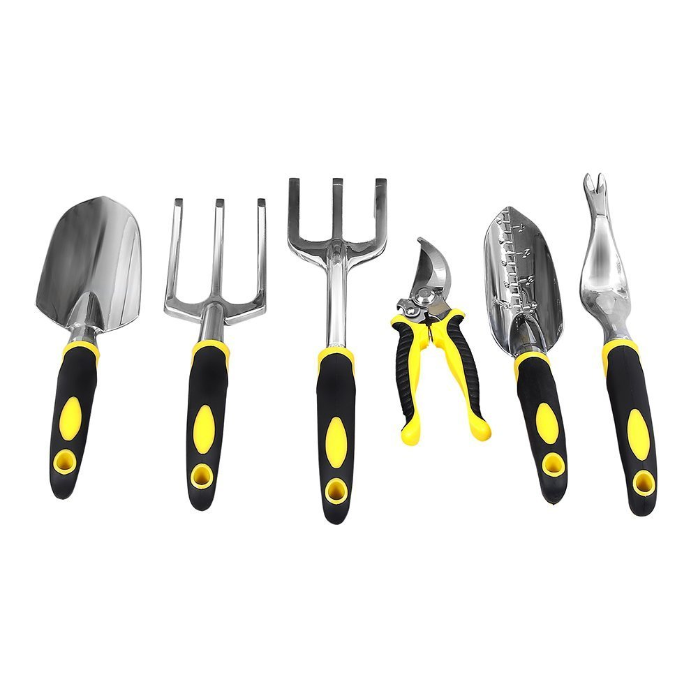 SONGMICS Garden Tool Set 6-Piece Garden Kit with Heavy Duty Cast-aluminum Heads Ergonomic Handles UGGT600 by SONGMICS