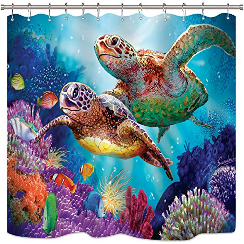 Riyidecor Sea Turtle Shower Curtain Ocean Creature Landscape Colorful Coral Reef Underwater Decor Fabric Set Polyester Waterproof 72x72 Inch 12-Pack Plastic  Hooks -