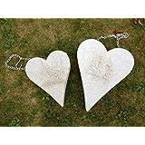 Grey Metal Shabby Finish Pretty Heart Hanging Planter For Garden & Home (medium)