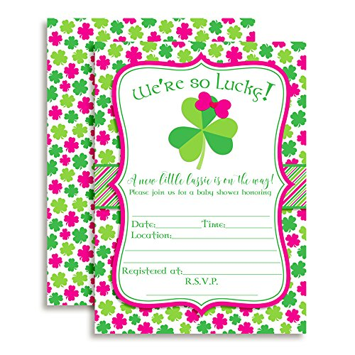Amanda Creation St. Patrick's Day Baby Girl Shower Fill in Invitations Set of 20 with envelopes
