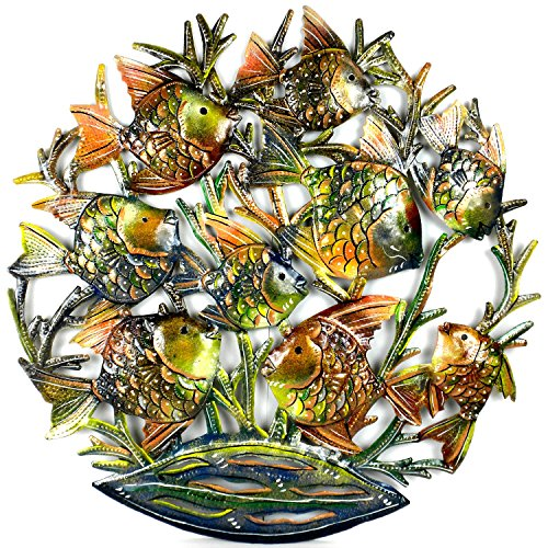 24-Inch Painted School of Fish Metal Wall Art
