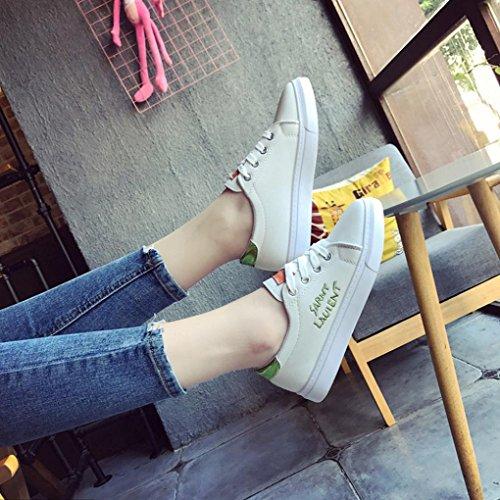 Fheaven Femmes Sneaker Couleur Unie Chaussures De Skate Chaussures De Sport Chaussures De Course Chaussures De Sport Vert