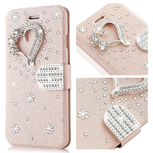For iPhone 6s Plus Case,L-FADNUT Bling Jewellery Crystal Rhinestone Flip PU Leather Case,3D Love Magnetic Diamond Buckle with Stand Wallet Card Holder For iPhone 6/6s Plus 5.5 inch - Rose Gold