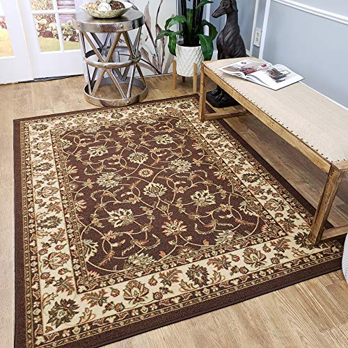 Traditional Entryway (Area Rug 3x5 Brown Traditional Kitchen Rugs and mats | Rubber Backed Non Skid Living Room Bathroom Nursery Home Decor Under Door Entryway Floor Non Slip Washable |Made in Europe)