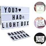 Light Box a4,CrazyFire LED Cinema Box Luminosa Cinematografica Lampada,104 Lettere e 85 Simboli,Batteria caricata,Utilizzato in feste, tag da ufficio, appuntamenti, decorazioni da bar