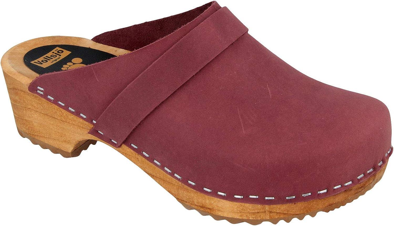 Vollsjo Women's Genuine Leather Wooden Clogs Made in EU