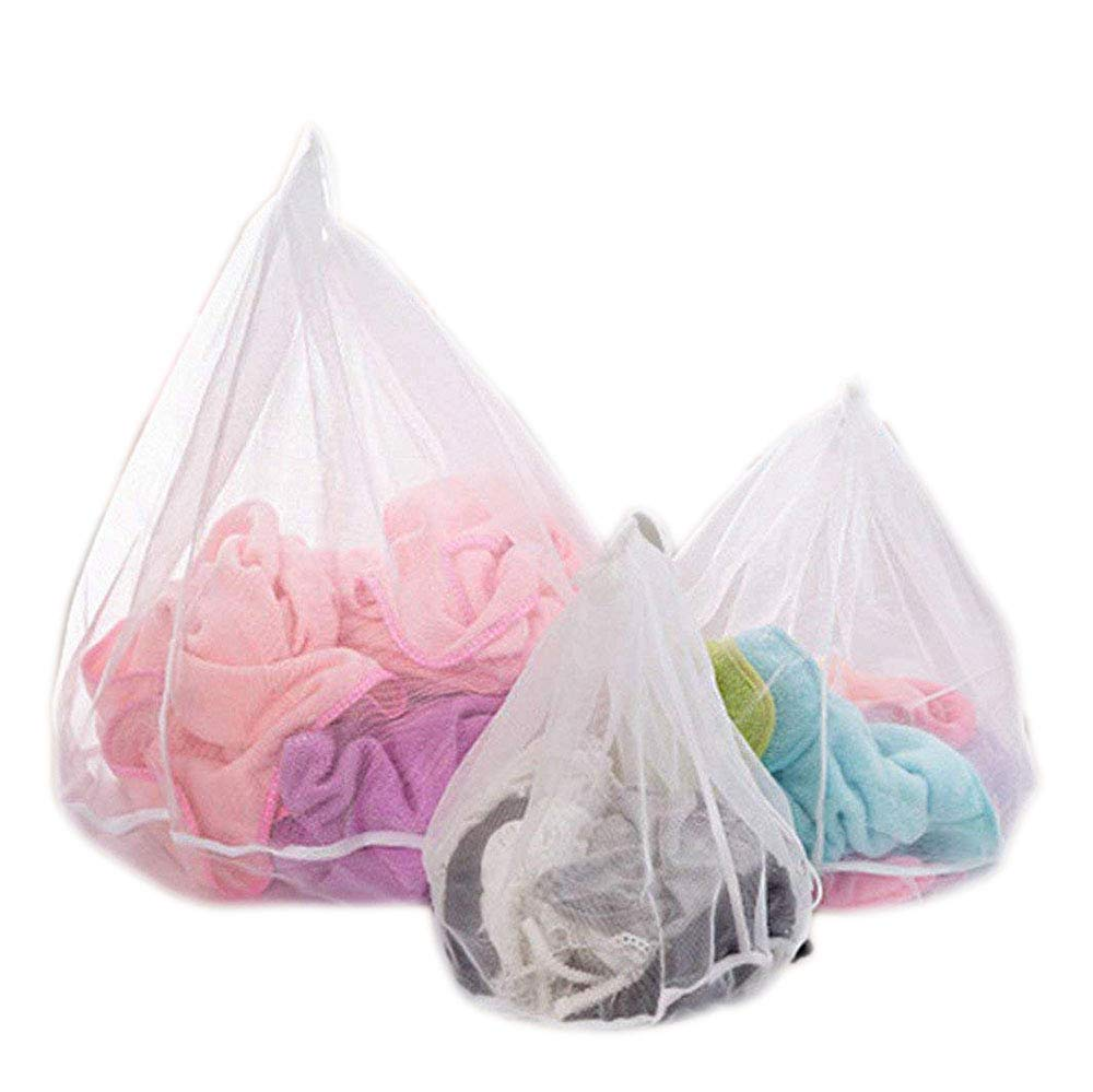 3PC Mesh Laundry Bags for Delicates,Reusable Drawstring Laundry Washing Bag for Bra, Lingerie, Socks, Tights, Stockings, Baby Clothes (Set 3 sizes) Creativee