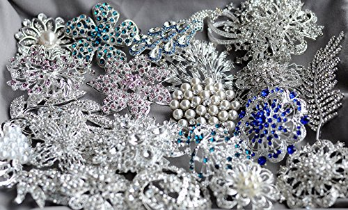 50 Rhinestone Brooch Rhinestone Button X LARGE Top Quality Pearl Crystal Wedding Bridal Rhinestone Brooch Bouquet DIY Kit BR999 by Your Perfect Gifts