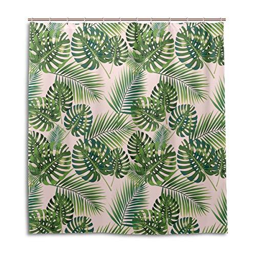 Amanda Billy Banana Leaf Onesie Green Natural Home Shower Curtain, Beaded Ring, Shower Curtain 72 x 72 Inches, Modern Decorative Waterproof Bathroom Curtains